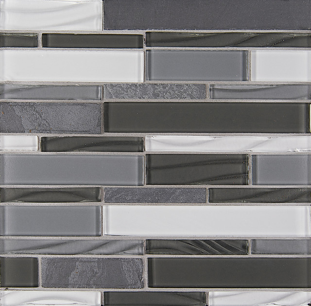 Organic Pewter Elume Sold by the Box Random Bricks Grey Backsplash