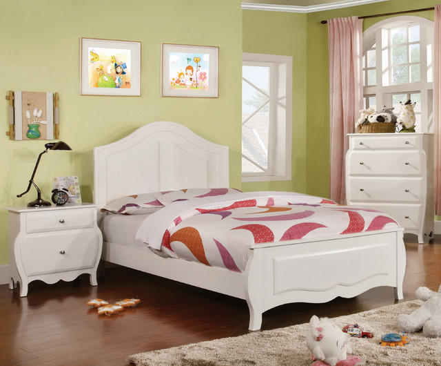 Furniture Of America Young Olivia White Solid Wood 3 Piece Bedroom Set Cont