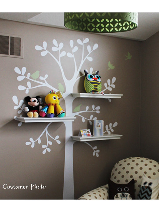"Simple Shapes - Shelving Tree Wall Decal, Color Scheme A, Small - 51""w X 88""h - This is a tree decal that is created to work with standard 24"" wall shelves that you can find at your local Target, Walmart, Ikea etc.. (shelving NOT INCLUDED) There are three locations where you can fit the shelves. This tree looks great on its own as well!"