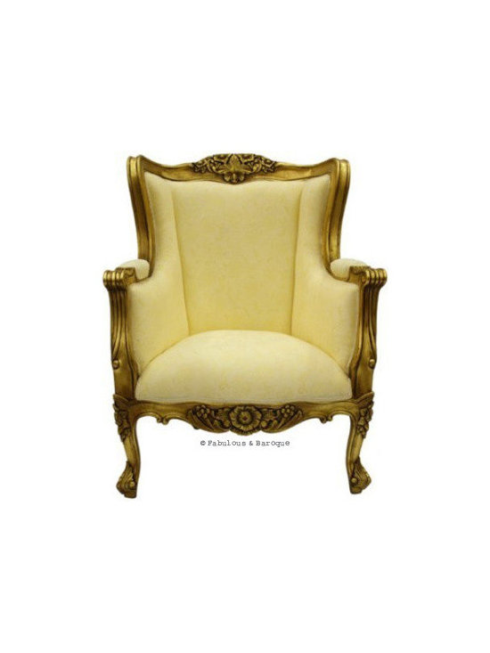 Aveline French Wing Back Chair - Gold Leaf - This fabulous Aveline French wing back chair is finished in a delicious gold leaf which perfectly compliments the ivory luxurious upholstery.