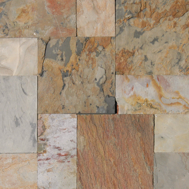 Sample of 16 sft kit gauged autumn slate french pattern for Slate floor patterns