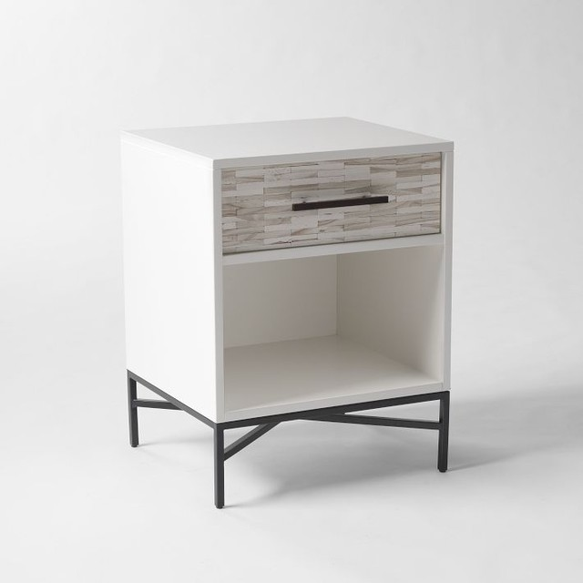 Wood tiled nightstand modern nightstands and bedside for Nightstands and bedside tables