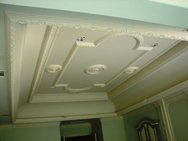 Plaster Ceiling Pattern Traditional Home Theater