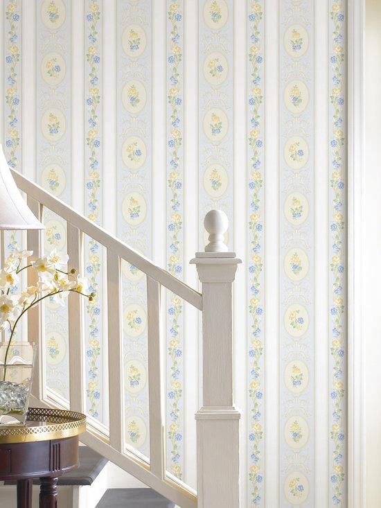 Palmer Blue Stripe Brewster Wallpaper -