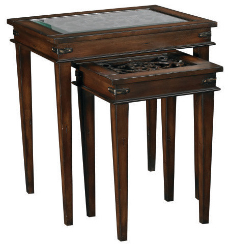 Hammary Hidden Treasures Rectangular Nesting Table with Metal Scrollwork traditional-side-tables-and-end-tables