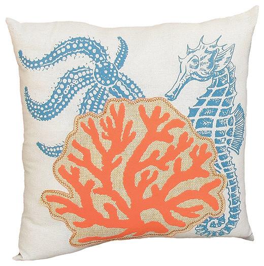 Coastal Decorative Throw Pillows : Applique Sea Life Coastal Throw Pillow - Modern - Decorative Pillows