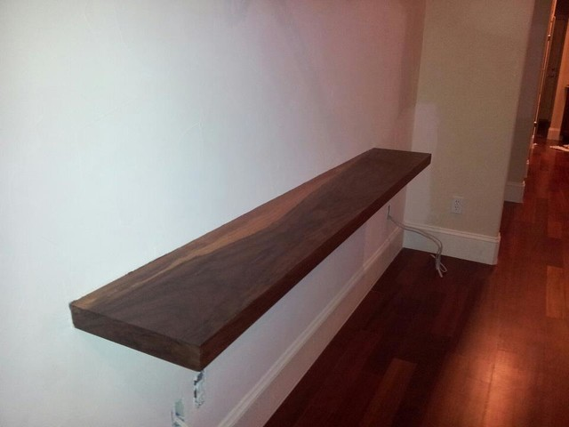 Floating Walnut Bench Modern Denver By Sims Construction