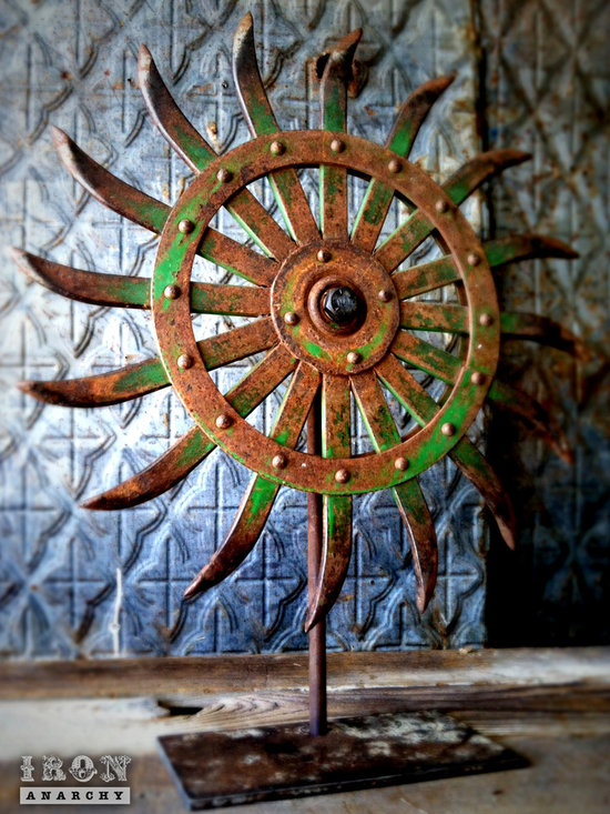 """Antique Industrial Gear Decor - Stunning old wheel of curved spikes with luscious remnants of original green paint! Handcrafted display stand of rustic reclaimed steel. 22"""" tall."""