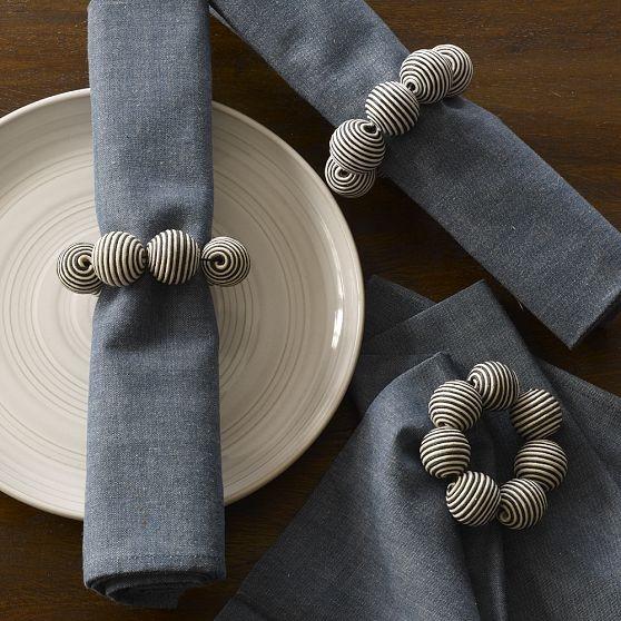 Striped Ball Napkin Ring modern-napkin-rings