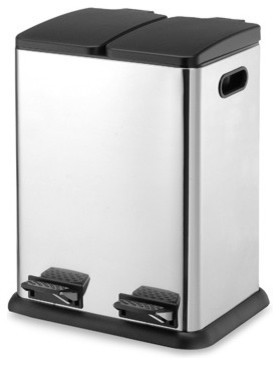 10 5 Gallon Two Compartment Step On Bin Modern Kitchen