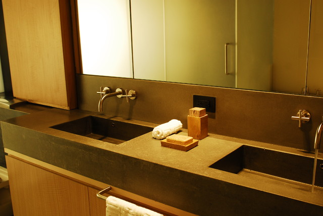 Concrete bathroom countertop with double sink modern-vanity-tops-and-side-splashes