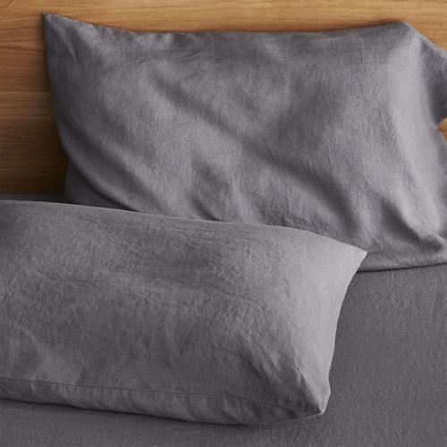 Set of 2 Lino Dark Grey Linen Standard Pillowcases contemporary-sheets