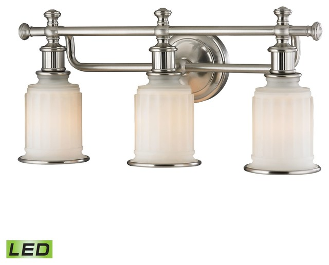 Bathroom Vanity Lights Farmhouse : ELK Lighting 52002/3-LED Acadia Brushed Nickel 3 Light Vanity - Farmhouse - Bathroom Vanity Lighting