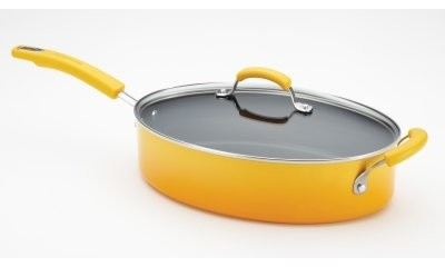 Rachael Ray Porcelain II Nonstick 5 qt. Covered Oval Saute with Helper Handle - modern-cookware