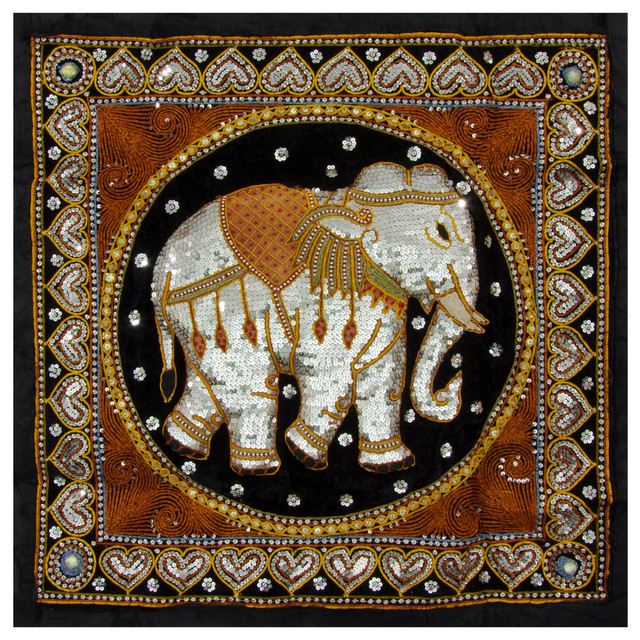 Wall Hanging Artwork : Burmese elephant tapestry wall hanging traditional