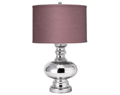 Jamie Young St. Croix Mercury Glass Small Table Lamp Base, Plum Linen Shade modern table lamps
