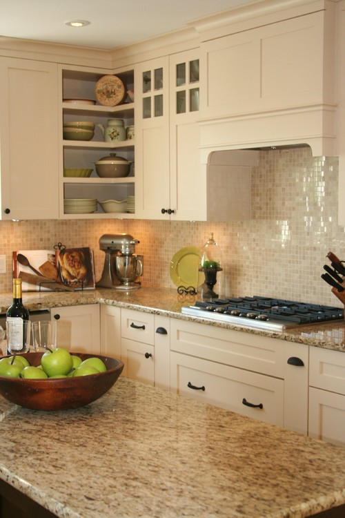 Santa Cecilia Granite White Cabinet Backsplash Ideas