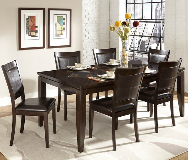 Homelegance vincent 7 piece rectangular dining room set in for Dining room questionnaire