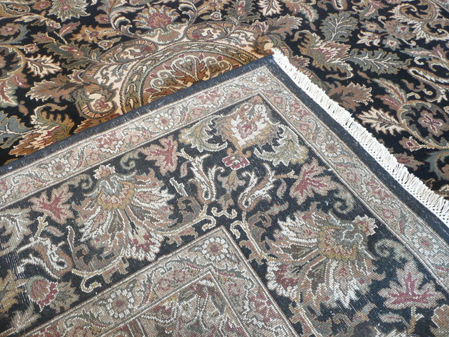8 x 10 Hand Knotted Black Agra Rug traditional rugs