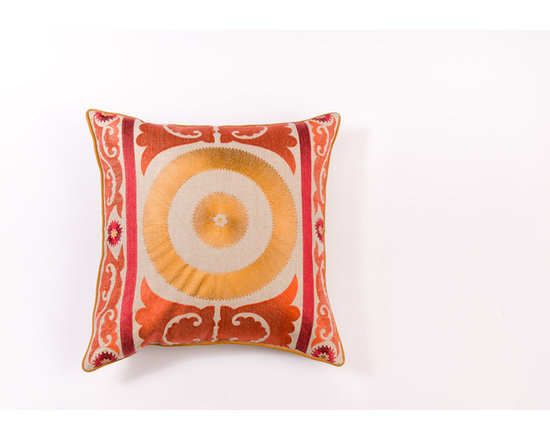 "Pillows - Add flair with beautiful suzani pattern pillow,the coordinating welt adds charm to the 20""x20"" pillow."