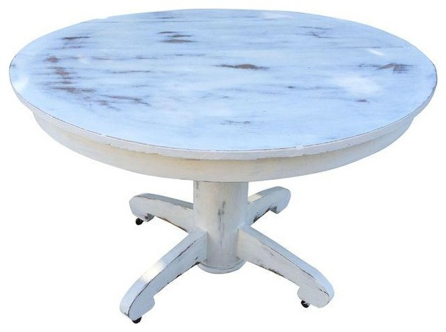 Pre owned round oak painted and distressed dining table for Distressed round dining table