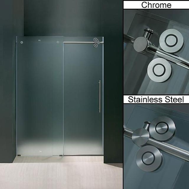 Vigo 60 Inch Frameless Frosted Glass Sliding Shower Door Contemporary Showerheads And Body