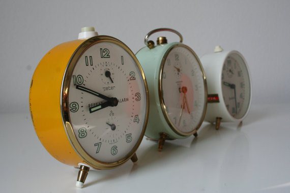Vintage Yellow Peter Repeat Alarm Clock by Ekho Vintage traditional-alarm-clocks