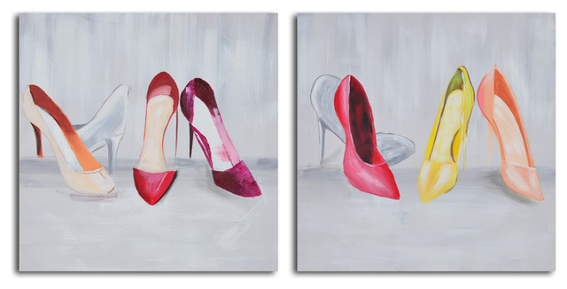 Double-trouble shoeshining Hand Painted 2 Piece Canvas Set contemporary-prints-and-posters