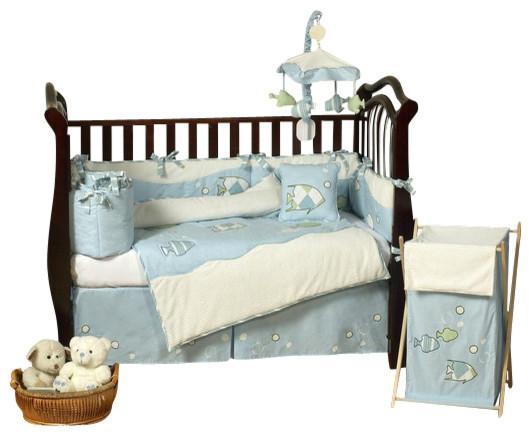 Go fish 9 piece crib bedding set contemporary cribs for Fishing crib bedding