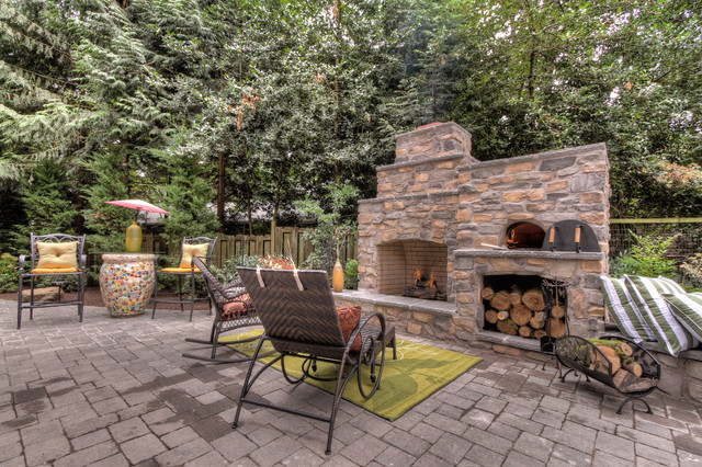 Outdoor Fireplace With Pizza Oven Traditional Portland By .  Outdoor Fireplace And Pizza Oven