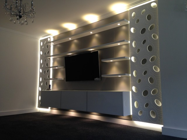 Contemporary living room tv unit contemporary living for Lcd wall unit designs for hall