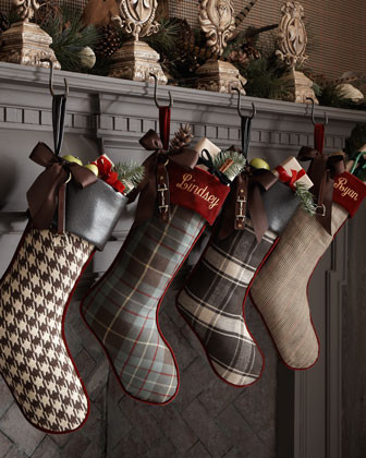 French Laundry Home Multicolor Plaid Stocking, Plain traditional holiday decorations