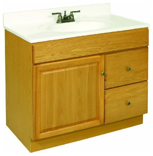 Claremont Honey Oak Vanity Cabinet with 1-Door and 2-Drawers modern-bathroom-vanities-and-sink-consoles