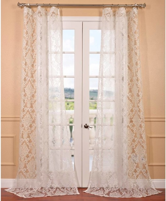 Antoinette White Patterned Sheer Curtain Panel Contemporary Curtains By