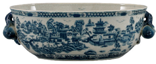 Blue And White Blue Willow Porcelain Planter Asian