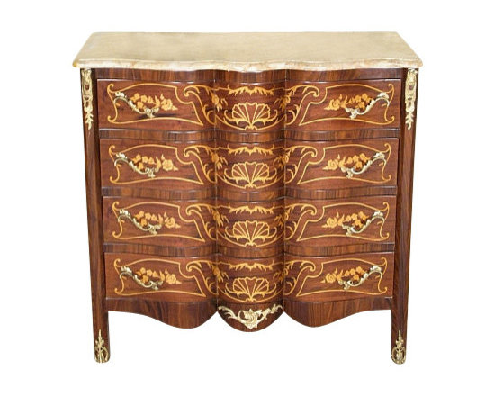 MBW Furniture - Italian Style Mahogany & Walnut Chest Dresser w/ Marbletop - This product is finely constructed from top grade solid wood. Artisans use the old world method of tongue and groove and mortise and tenon joinery to create this beautiful and durable piece of furniture. Its superb hand-crafted quality will add a touch of elegance to your home.