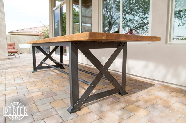 Patio Table Reclaimed Oak X Base Table Industrial Outdoor Coffee Tabl