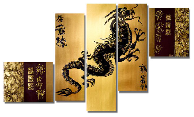 dragon asian art painting 5 panel 58 x 36in asian