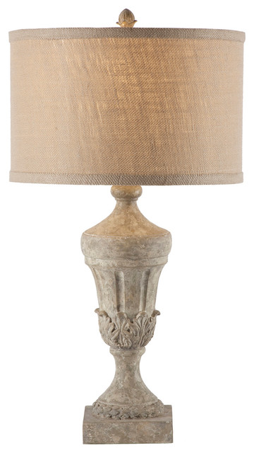 Pair French Country Fluted Urn Burlap Shade Lamp