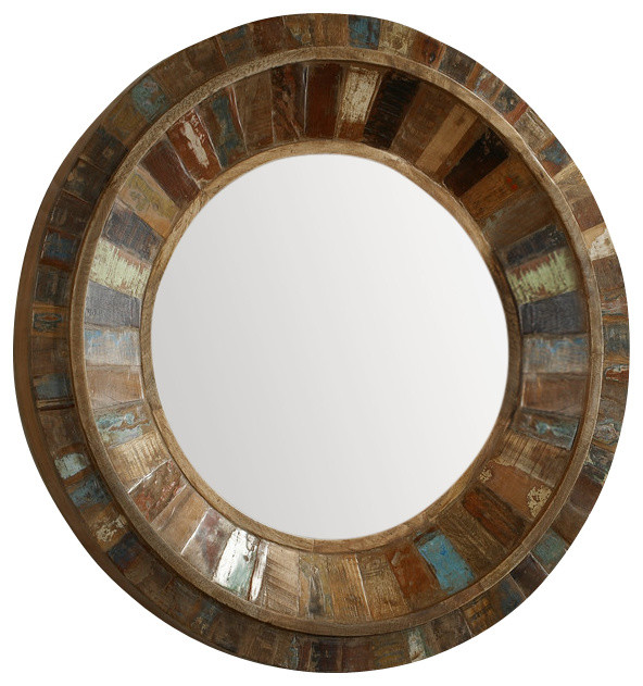 Uttermost jeremiah round wood mirror contemporary wall for Round wood mirror