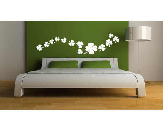 Pack wall stickers - Bring in good luck into your homes with this pack of Celtic shamrock stickers. You can use scissors to separate them and apply them on your walls any way you like... The Shamrock Clover decal comes in a pack of 12 regular clover and 1 four leaf clover: They come in 4 sizes and 24 different colors. The starting price is $28.