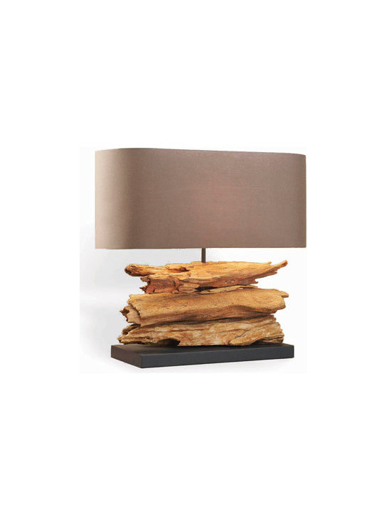 Horchow - Riverine Lamp - Long, low, and narrow, this lamp is ideal for a long table or desk. We particularly like its natural, organic form. Handcrafted of wood and metal. Natural finish. Linen shade. Inline switch; uses one 60-watt bulb. Imported.