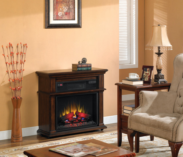 Chandler 23-Inch 1,000 Sq Ft Cherry Portable Fireplace Spectrafire Infrared Heat traditional-fireplaces