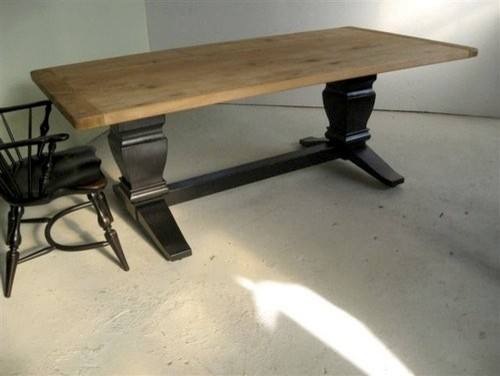 Reclaimed Wood Table with Black Trestle Base Rustic  : rustic dining tables from houzz.com size 500 x 376 jpeg 33kB