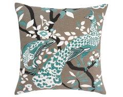 Peacock Azure Pillow contemporary-pillows