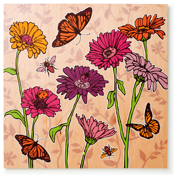 Daisies Print (Pink and Purple) contemporary-baby-and-kids