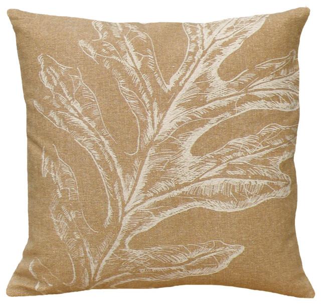 Decorative Pillows Rustic : Oak Leaf Beige, Hand-Printed Linen Pillow - Rustic - Decorative Pillows - by 123 Creations, Inc.
