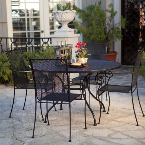 Paxton Wrought Iron Dining Set Seats 4 Contemporary Patio Furniture And