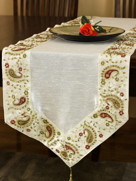 """Elegant Table Runners - One of a kind """"Glamorous Border Table Runner"""" Beige color. Hand crafted in India."""