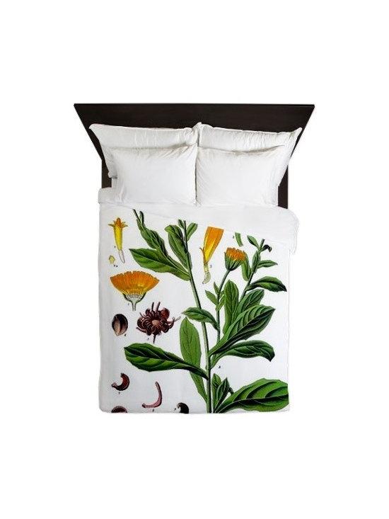 Botanical Marigold Queen Duvet by Botanical Drawings -